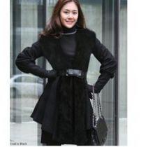 韩国SZ 2011冬季新款爆款高档狐狸毛裙式大衣