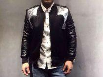 亚历山大王新款棉皮拼接夹克,内里进口棉花填充,保暖舒适,时尚设计