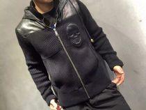 PP(菲利普▪普兰)羊毛拼羊皮夹克,专柜新款同步,剪裁完美
