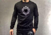 D&G(杜嘉班纳)新款黑色花纹植绒卫衣,欧式古典风格。