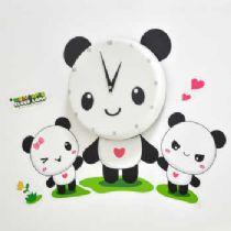 创意礼品 童话时光壁钟 萌萌家族熊猫墙纸时钟 儿童卧室书房挂钟