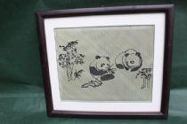 竹编工艺品 竹编熊猫镜框 竹编卷轴批发 竹丝礼品