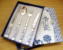青花瓷餐具 刀叉勺筷 餐具礼品四件套 创意礼品个性定制