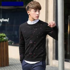 男士毛衣套头 秋装韩版黑色圆领波点腈纶针织衫男 潮