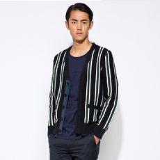 秋装新款修身英伦条纹男装v领纽扣长袖针织开衫毛衣外套
