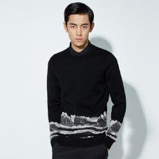 迈堡罗男装 秋季男士新款黑色羊毛衫韩版修身羊毛套头衫潮