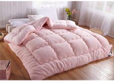 超柔超暖羊羔绒加厚冬被驼色