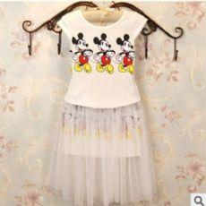 2016夏季童装 女童套装T恤+网纱蓬蓬裙子女童米奇背心两件套