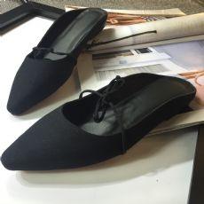 ABOW同款帆布半头绑带拖鞋