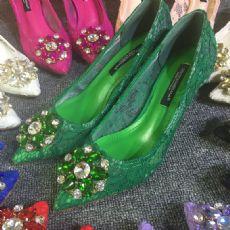 2016新款女鞋春秋单鞋性感蕾丝尖头高跟鞋细跟尖头鞋中跟单鞋女士