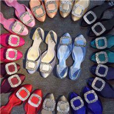 欧美平底鞋女方扣水钻单鞋女浅口平跟女鞋真丝绸缎面婚鞋升级版
