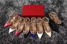 欧美早春新款铆钉尖头平底鞋真皮浅口柳钉绑带平跟鞋单鞋女尖头鞋