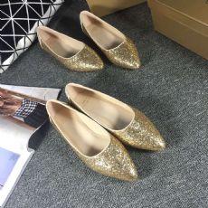 2016新款羊皮平跟鞋休闲平底鞋圆头防滑舞鞋金色浅口单鞋女真皮
