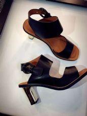16夏季金属电镀粗跟凉鞋真皮一字扣带露趾女鞋欧美皮带扣高跟鞋潮
