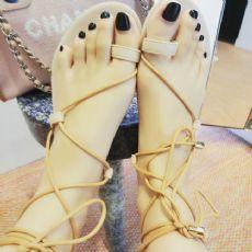 凉鞋女沙滩鞋2016夏季绑带凉鞋舒适牛筋底绒面脚环绑带女鞋罗马鞋