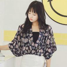 2016夏季新款女装日系印花雪纺衫宽松五分袖防晒衣 送抹胸
