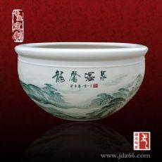 景德镇陶瓷大缸厂家 摆件风水陶瓷鱼缸图片