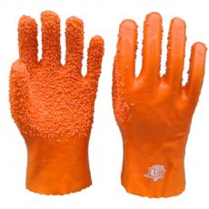 PVC劳保手套 橘黄色颗粒防滑耐磨手套