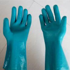 PVC浸胶手套 浅绿色砂面防滑抓鱼手套