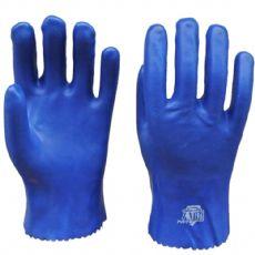 PVC劳保手套 蓝色砂面防油耐酸碱手套