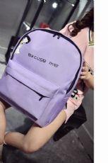 2017新款韩版双肩包帆布女简约纯色中学生书包背包潮字母印字