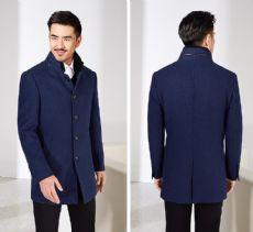 男士2017冬季商务修身百搭毛呢大衣外套带毛领可拆卸面料舒适