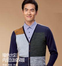 秋装中青年男士加绒加厚长袖t恤假两件男装毛衣冬季保暖衣服4A