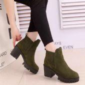 2017年冬季新款磨砂圆头厚底粗跟韩版时尚保暖学生女短靴马丁