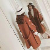 一件代发 2017秋冬装新款韩版灯笼袖刺绣毛呢外套女 宽松茧