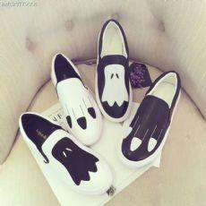 新品韩版时尚个性图案小羊皮厚底乐福鞋