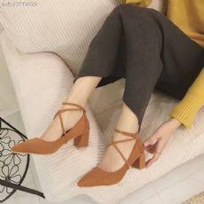 时尚爆款绑带高跟鞋粗跟高6cm