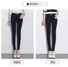 新品高腰排扣弹力长裤气质百搭修身显瘦外穿打底裤女裤