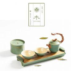 五行茶具快客杯复古粗陶一壶二杯旅行茶具套装礼盒装