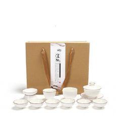 哑光脂白整套功夫茶具白瓷茶具套装礼盒包装