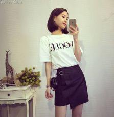 时尚潮款字母棉t搭配时尚斜摆柔软pu薄皮短裙