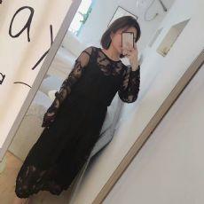 新款黑色蕾丝两件套连衣裙
