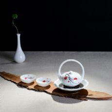 五彩手绘花好月圆-秋韵茶具套组礼盒装