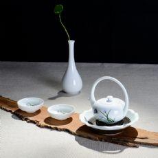 青花花好月圆-夏日墨荷白瓷手绘日式提梁壶茶具套装礼盒