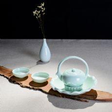 花好月圆-青瓷日式提梁壶茶具套装礼盒