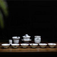 云端定窑白鎏边手绘莲蓬茶具套组盖碗斗笠杯功夫茶具礼盒装