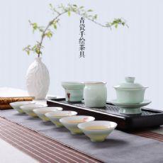 云端亚光鎏边手绘荷花白瓷茶具套装斗笠茶杯盖碗套组礼盒装
