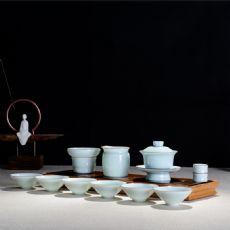 云端粉青鎏边青瓷茶具套装功夫茶具盖碗茶海斗笠茶杯陶瓷茶具礼盒