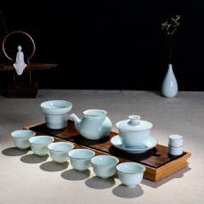 青瓷粉青鎏边影青茶具套组茶碗茶海公道杯马蹄杯功夫茶具礼盒装