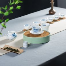 德化白瓷青花茶具套装手绘立体牡丹高白瓷薄胎功夫茶具