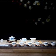 马蹄莲手绘寒梅陶瓷功夫茶具整套德化白瓷薄胎青花茶具套装送礼盒