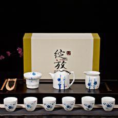 秦权壶青花手绘寒梅茶具整套薄胎高白陶瓷功夫茶具梅花礼盒装