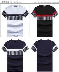 男士短袖t恤夏季V领拼接修身半袖男装条纹纯棉t恤