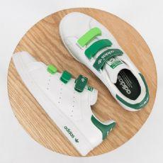海大富运动鞋三叶草史密斯 魔术扣 渐变绿 头层皮