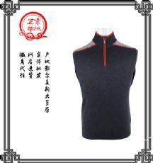 春季鄂尔多斯市正品中年男士半高领半拉链t恤长袖羊绒纯色t恤
