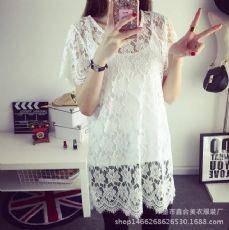 2017夏装新款蕾丝衫中长款镂空罩衫宽松短袖透视打底上衣女防